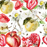 Watercolor Pattern with apples, strawberry Stock Images