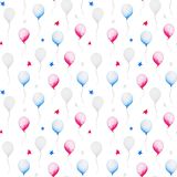 Watercolor pattern with baloon and starts for 4th of July, United Stated independence day. Design for print, card. Banner stock illustration
