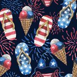 Watercolor pattern, beach slippers, fireworks, ice cream in a cone. vector illustration