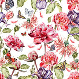 Watercolor pattern with beautiful butterflies and flowers iris, poppies, peonies. Royalty Free Stock Images