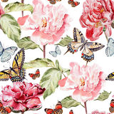 Watercolor pattern with beautiful butterflies and Royalty Free Stock Image