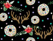 A seamless pattern is mainly made up of donuts and various festive elements and decor objects. Watercolor pattern on a black background easily tiles and creates Royalty Free Stock Photos