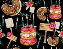 A seamless pattern is mainly made up of donuts and various festive elements and decor objects. stock illustration