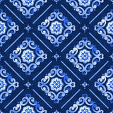 Watercolor pattern blue moroccan. Watercolor royal blue abstract seamless pattern, moroccan tiling ornament. Delicate filigree openwork lace pattern. Blue velvet Stock Image