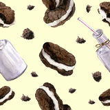 Watercolor pattern with bottle of milk and biscuits. Realistic illustration. Royalty Free Stock Photos