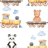 Watercolor pattern with cartoon bears on the train. vector illustration