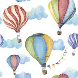 Watercolor pattern with cartoon hot air balloon. Transport ornament with flag garlands and clouds isolated on white. Background stock illustration