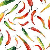 Watercolor pattern chili Royalty Free Stock Photography