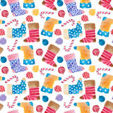 Watercolor pattern of christmas boot, ball and candy Stock Photo