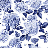 Watercolor pattern with chrysanthemum and peony. Stock Images