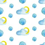 Watercolor pattern cloud and moon royalty free illustration