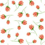 Watercolor pattern with clover, horseshoe and clover flowers. vector illustration