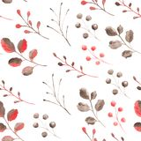 Watercolor pattern with coral leaves and branches. vector illustration