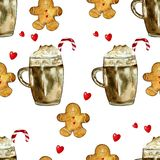 Watercolor pattern with cristmas coffee and gingerbread stock images