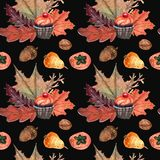 Watercolor pattern of cupcakes halloween and nuts, fruits royalty free illustration