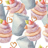 Watercolor pattern with cupcakes. Hand drawn on white background. Watercolor pattern with cupcakes. Hand drawn background royalty free illustration
