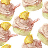 Watercolor pattern with cupcakes. Hand drawn on white background. Stock Photos