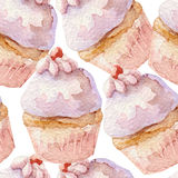 Watercolor pattern with cupcakes. Hand drawn on white background. Stock Photography