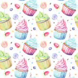 Watercolor pattern with cupcakes Royalty Free Stock Photo