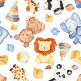 Watercolor pattern with cute animals and toys. vector illustration