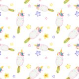 Watercolor pattern with cute unicorns, clouds,rainbow and stars. Magic background with little unicorns. Can be used to design greeting cards for holiday stock photos