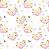 Watercolor pattern with cute unicorns, clouds,rainbow and stars. Magic background with little unicorns. Can be used to design greeting cards for holiday stock photography