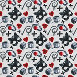 Watercolor pattern with depiction of subjects for sexual games, leather mask, handcuffs, whip Stock Photography