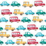 Watercolor pattern of different cars Stock Images