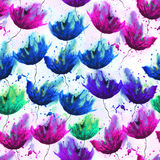 Watercolor pattern of different flowers Stock Image