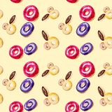 Watercolor pattern donuts in multicolor glaze. Illustration isolated on yellow background. Seamless pattern stock illustration