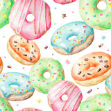 Watercolor pattern with donuts Royalty Free Stock Photography