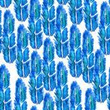 Watercolor pattern with feathers. Royalty Free Stock Photography
