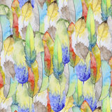 Watercolor pattern with feathers Stock Photo