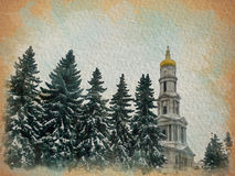 Watercolor pattern of fir-trees and a building of church Royalty Free Stock Photo