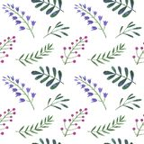 Watercolor pattern of flowers, berries. And leaves royalty free illustration