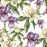 Watercolor pattern with flowers  iris, peonies and Royalty Free Stock Photo