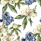 Watercolor pattern with flowers  iris, peonies and lilies, buds and petals. Royalty Free Stock Photography