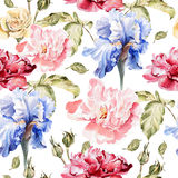 Watercolor pattern with flowers  iris, peonies and Royalty Free Stock Images