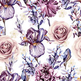 Watercolor pattern with flowers of iris, rose and lavender. Royalty Free Stock Photography
