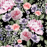 Watercolor pattern with the flowers of lavender and anemone, peony and roses. Illustrations Royalty Free Stock Photo