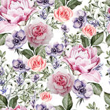 Watercolor pattern with the flowers of lavender and anemone, peony and roses. Stock Photos