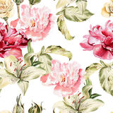 Watercolor pattern with flowers lilies, peonies Royalty Free Stock Photography