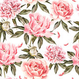 Watercolor pattern with flowers, peonies, buds and petals. Royalty Free Stock Photo