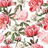 Watercolor pattern with flowers, peonies and Stock Photography