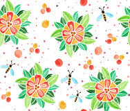 Watercolor pattern with flowers Stock Photo