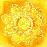 Watercolor a pattern in the form of an  lace doily. On a yellow background Stock Photo