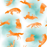 Watercolor pattern with fox. Vector watercolor pattern with orange fox on blue clouds vector illustration