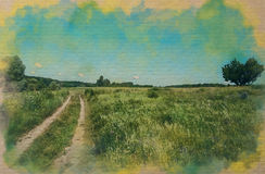 Watercolor pattern g of a field, a road and a tree. Green blue sky colorful drawing paints Stock Photos