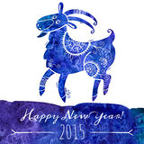 Watercolor pattern goat. Chinese astrological sign. New Year 2015. Vector illustration Stock Image