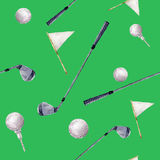 Watercolor pattern with golf elements. Hand painted pattern with golf clubs, balls and flags on green background. For Royalty Free Stock Photos